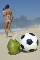 Rio Brazil Beach Scene Coconut Football Bikini