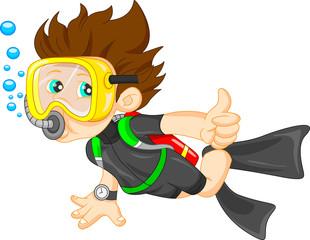 diver boy thumb up