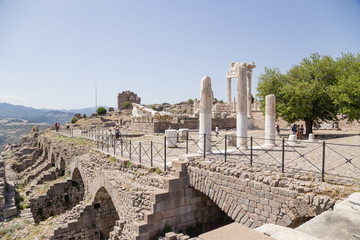Ruins in the archaeological zone of the Acropolis of Pergamum