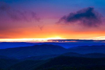 Colorful spring sunset over the Blue Ridge Mountains from Skylin