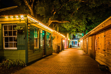 Narrow brick alley at night, in St. Augustine, Florida. Wall mural