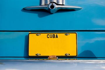 Cuban Yellow Plate on Blue Car Wall mural