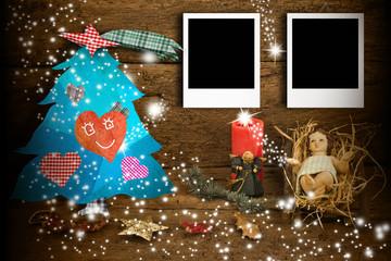 Christmas two photo frames Jesus ans Christmas tree