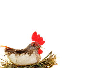hen party chicken isolated on hay toy