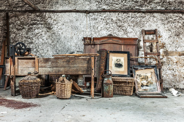 Old relics in a dusty attic