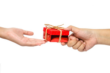 To hand a gift isolated