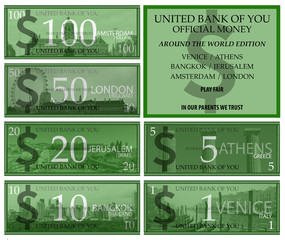 Dollar play money with around the world theme