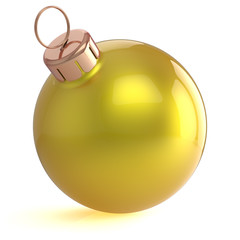 Christmas ball New Years Eve ornament decoration yellow golden