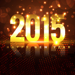golden 2015 text with transparent circles on brown background