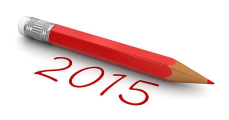 New Year 2015 with pencil (clipping path included)