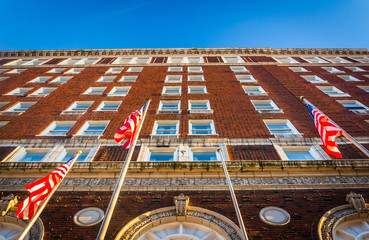 Looking up at the Yorktowne Hotel in downtown York, Pennsylvania