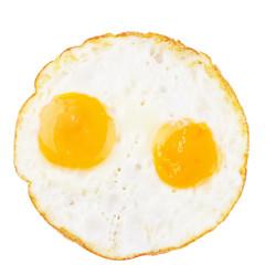 Fried eggs on white