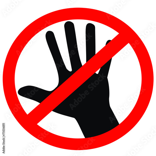 quotno touching allowed red and black signquot stock image and