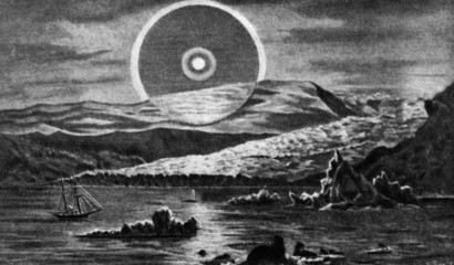 Arctic - end of world and all waters (ancient engraving)