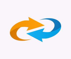 Vector logo design element. Arrow, circle