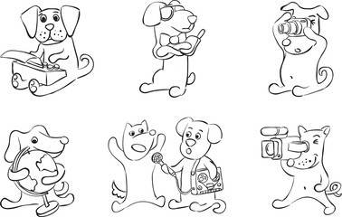 whiteboard drawing - cartoon dogs characters