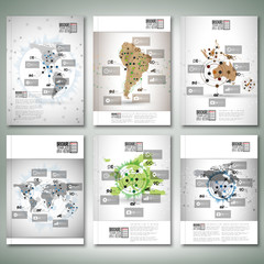 World maps, infographic design. Brochure, flyer or report for