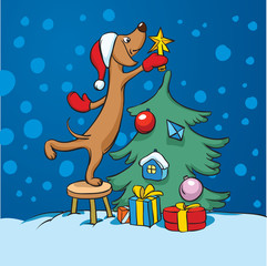cartoon dog arranging christmas tree