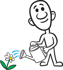 doodle small person - watering the flower