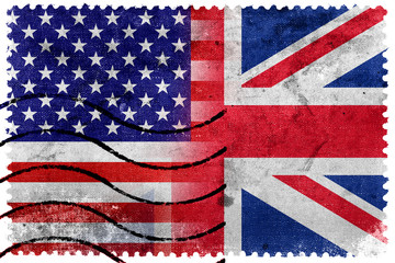 USA and UK Flag - old postage stamp