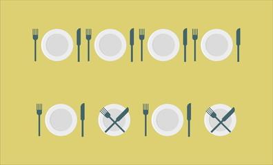 cutlery set - plate, fork, knife