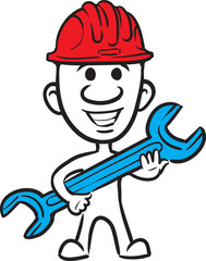 doodle small person - in hardhat with wrench