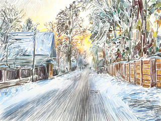 painting of beautiful winter in the country