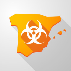 Spain map icon with a biohazard sign