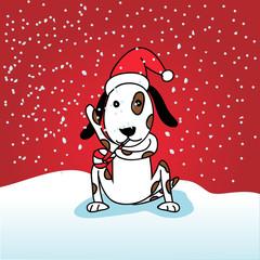 Dog dressed for christmas - vector illustration