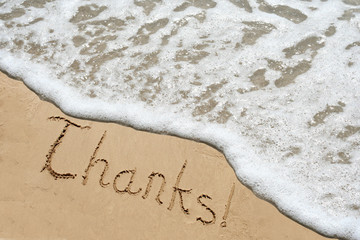 Conceptual thank you text in sand and water