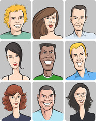 smiling men and women faces collection