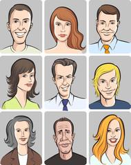 men and women faces vector collection