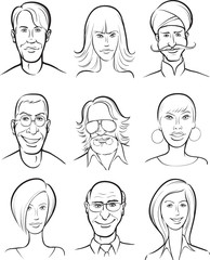 whiteboard drawing - various men and women faces collection