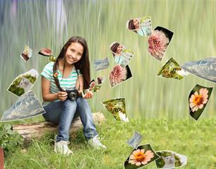 adolescente con las fotos en la naturaleza