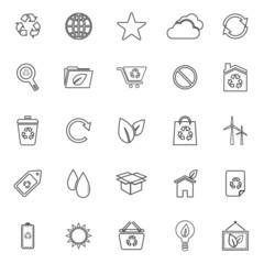 Ecology line icons on white background