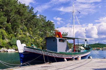 Fishing boat at the port of Gaios village, Paxoi island, Greece