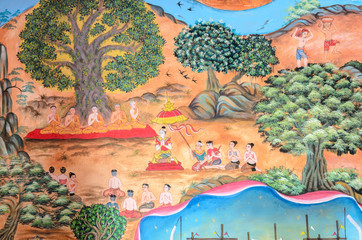 Thai mural painting of Thai Lanna life in the past on temple wal