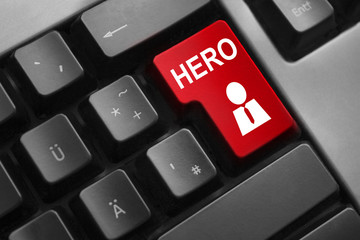 keyboard with red button hero employee symbol