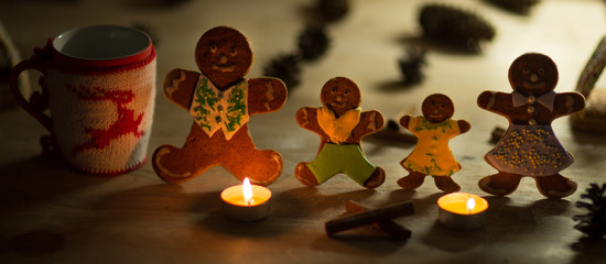 Christmas gingerbread men candles