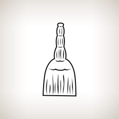 Silhouette  broom on a light background, vector illustration
