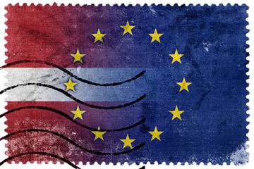 Latvia and European Union Flag - old postage stamp