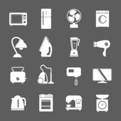 set of household appliances flat icons with a washing machine st