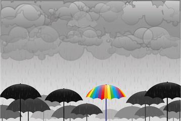 cheerful multicolored umbrella under rain sad gray