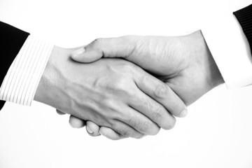 Handshake of businessmen in monochrome