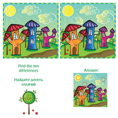 Visual Game - find 10 differences - with answer