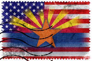 USA and Arizona State Flag - old postage stamp