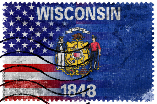 USA And Wisconsin State Flag