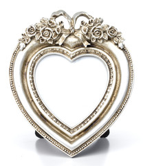 Metalic Heart Shape picture frame in White background