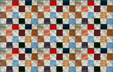 Colorful patchwork quilt pattern