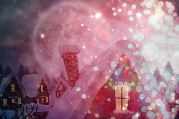 Composite image of cute christmas village under full moon